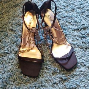 Colin Stuart Black Embellished High Heels Sandals